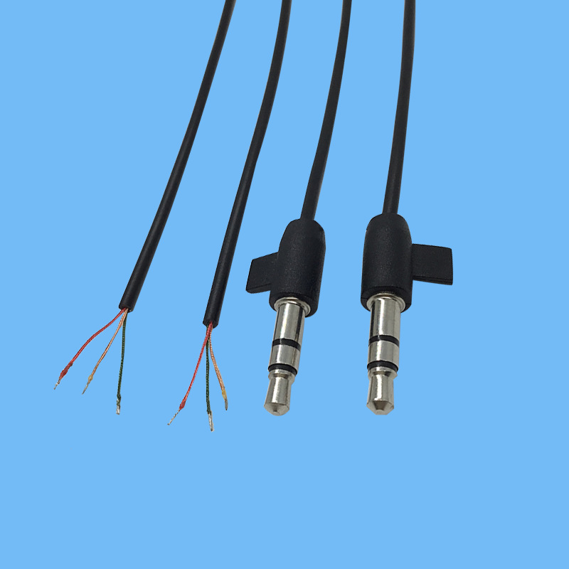 3.5小汉堡音频线漆包线生产厂家3.5MM带卡位音频线蓝牙音箱线加工
