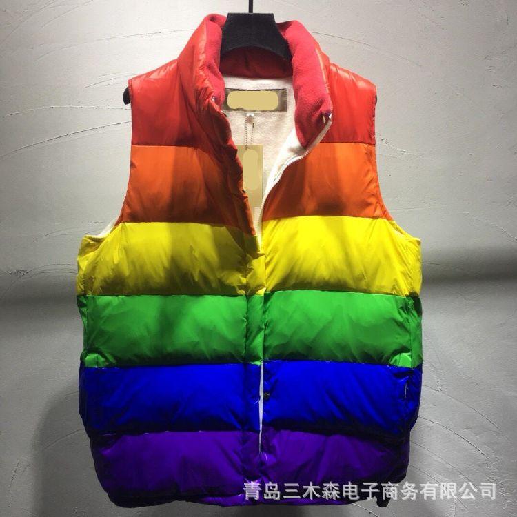 18新款彩虹羽绒外套 宽松男女同款情侣款马甲 一件代发 微商供货