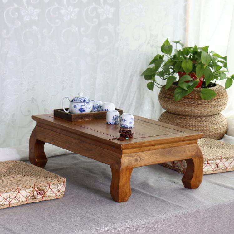 老榆木茶桌实木炕桌茶台阳台小茶几厂家直销榻榻米飘窗小矮桌茶几
