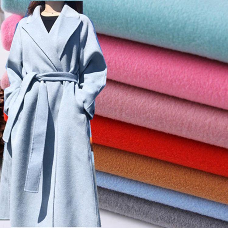 供应中国绒毛呢面料 双面短顺毛绒大衣布 秋冬双面羊绒外套布批发