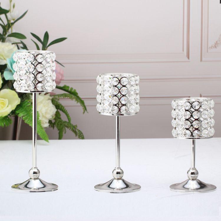 婚庆派对宴会摆台个性礼物装饰品4344欧式高档铁艺镀银蜡烛台