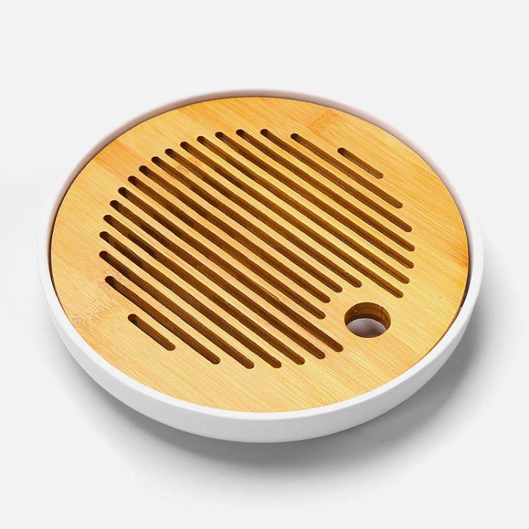 日月圆形白密胺盘简约干泡茶盘 家用日式储水迷你小茶台 圆形竹托盘
