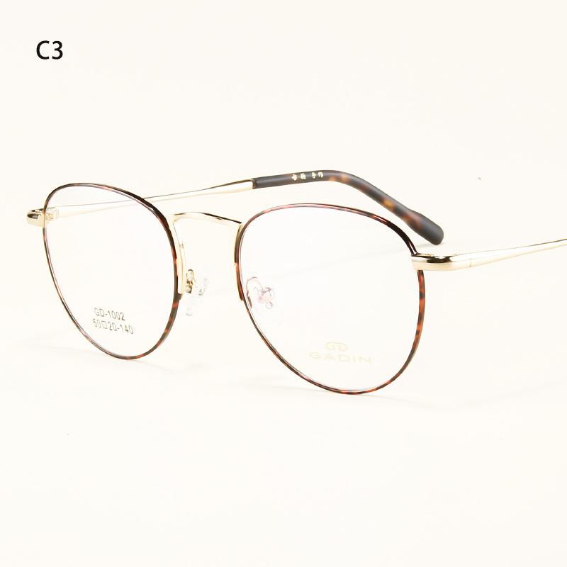 2018古顿新款复古金属圆形平光镜文艺小清新圆框眼镜框男女批发