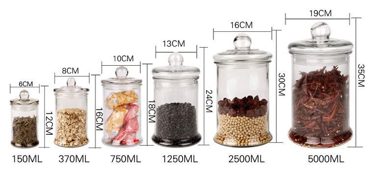 干果杂粮花茶玻璃瓶特价加厚玻璃茶叶罐密封储物罐大号透明中药材