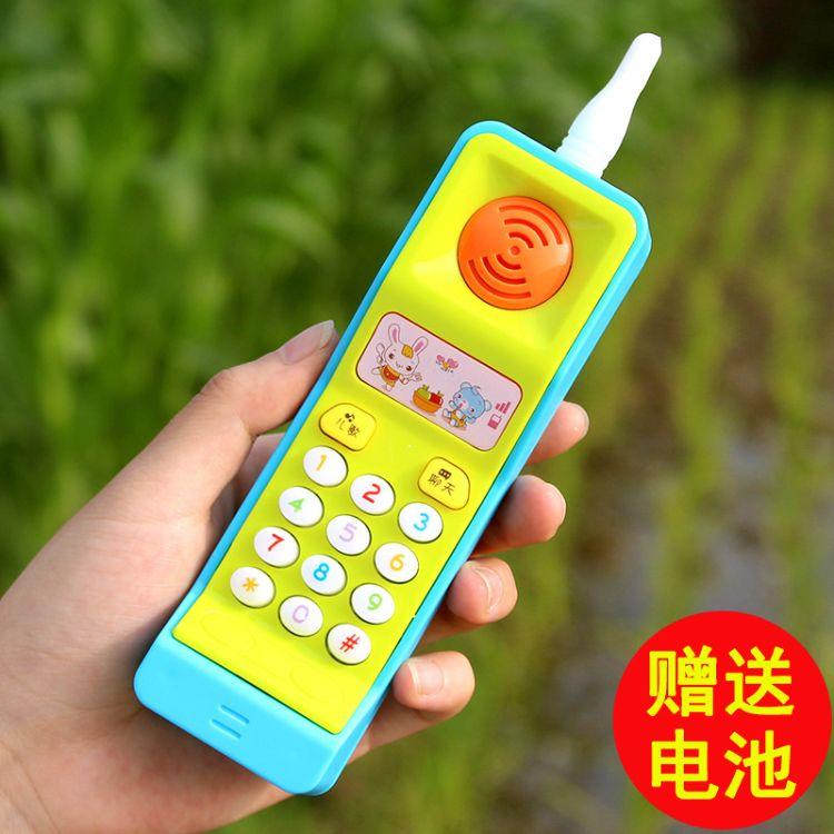 趣味益智早教启蒙大哥大音乐手机玩具带七彩灯光可捏硅胶天线批发