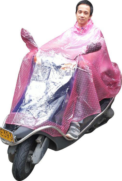 厂家直销批发时尚透明圆点 加大反光标志摩托车电动车双人雨披