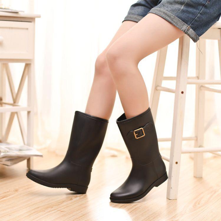 女士雨鞋中筒雨鞋防滑平跟套鞋马靴春秋四季百搭水鞋胶鞋防水女鞋