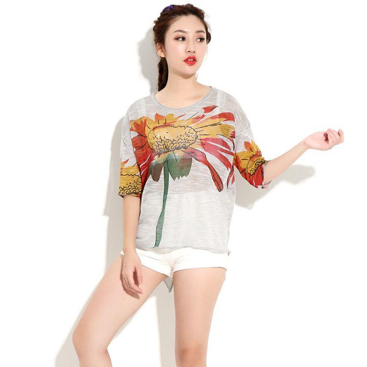 韩贝儿2018原创设计新款 欧美胖MM大码女装 不规则宽松上装T恤