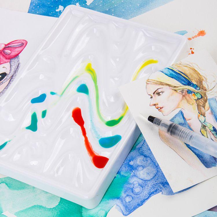 柏伦斯防瓷调色盘 波浪形 方形易清洗 水彩国画仿陶瓷创意调色盒