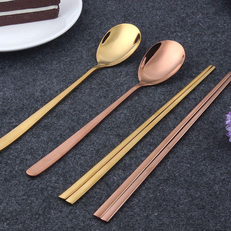 304韩式勺子筷子 不锈钢餐具两件套 家用餐厅便携礼盒餐具套装