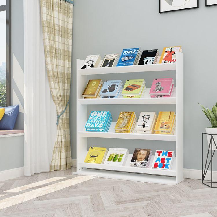 新款木质报刊杂志架子落地书架多层创意绘本杂志架斜面展示架简约