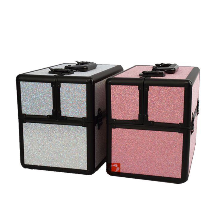 双开手提多层多功能美妆收纳便携pu皮化妆箱 定做各种颜色化妆箱