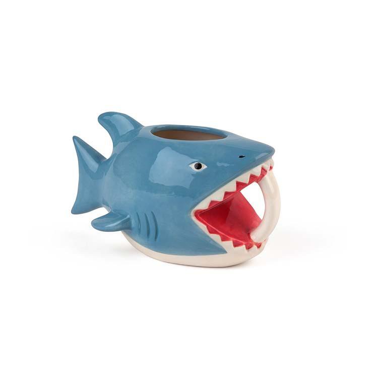 定制外贸陶瓷3D动物杯 异形把手陶瓷杯定做  白云土鲨鱼陶瓷杯