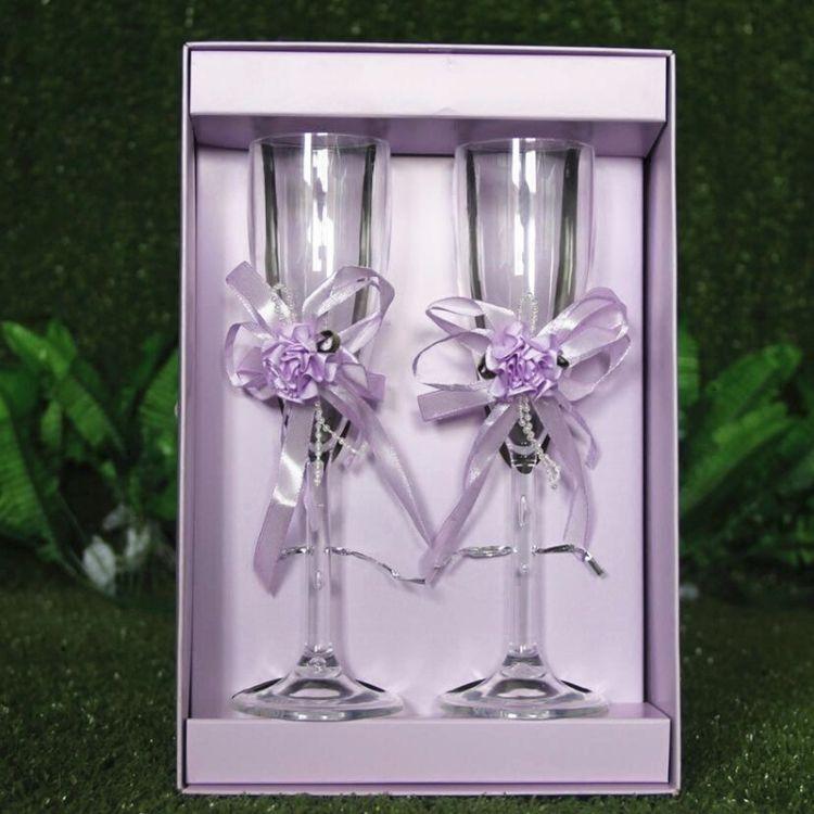 新款婚庆用品交杯酒杯 亚克力香槟酒杯 新人对杯高脚杯红酒杯道具
