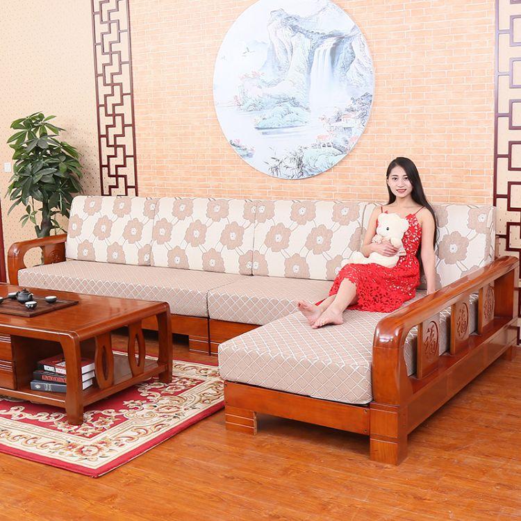 现代中式客厅实木沙发 全实木水曲柳沙发 小户型客厅实木套装家具