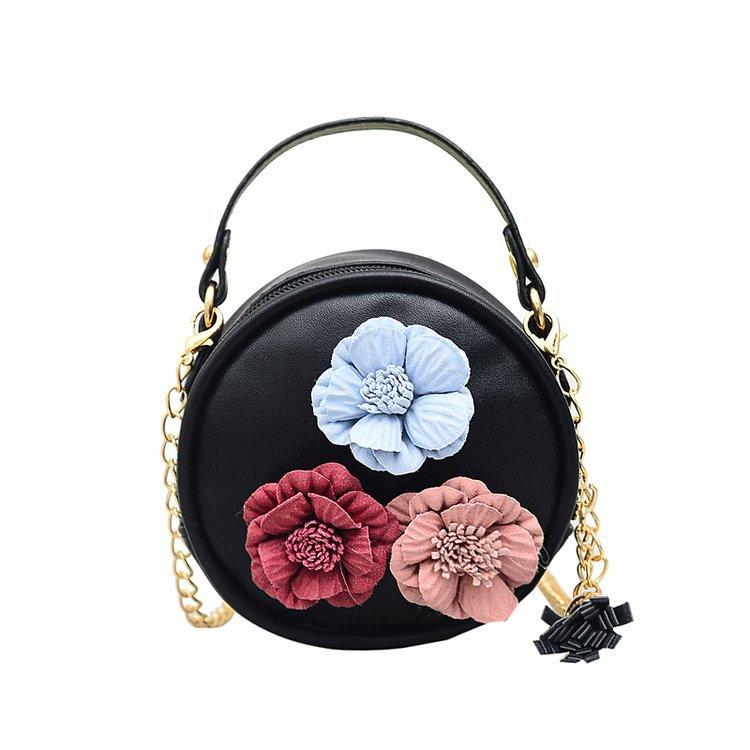 厂家批发2018韩版新款pu花朵链条儿童小圆包幼儿零钱女包一件代发