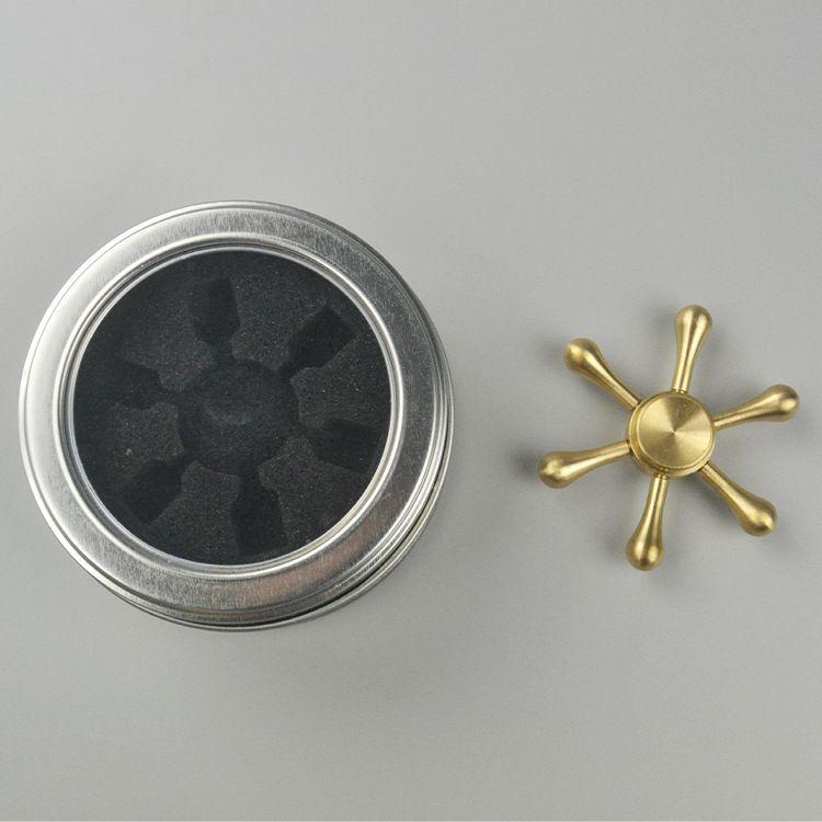 铜六角水滴指尖陀螺超长旋转指间陀螺减压陀螺spinner玩具