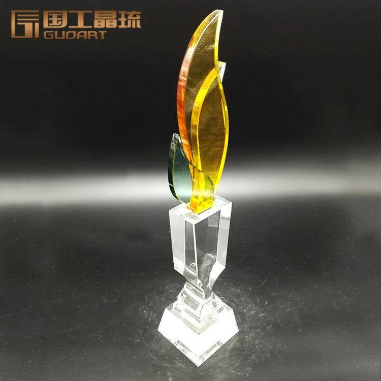 创意树叶子水晶奖杯定制加工 国韵工美工艺品水晶奖杯定做批发