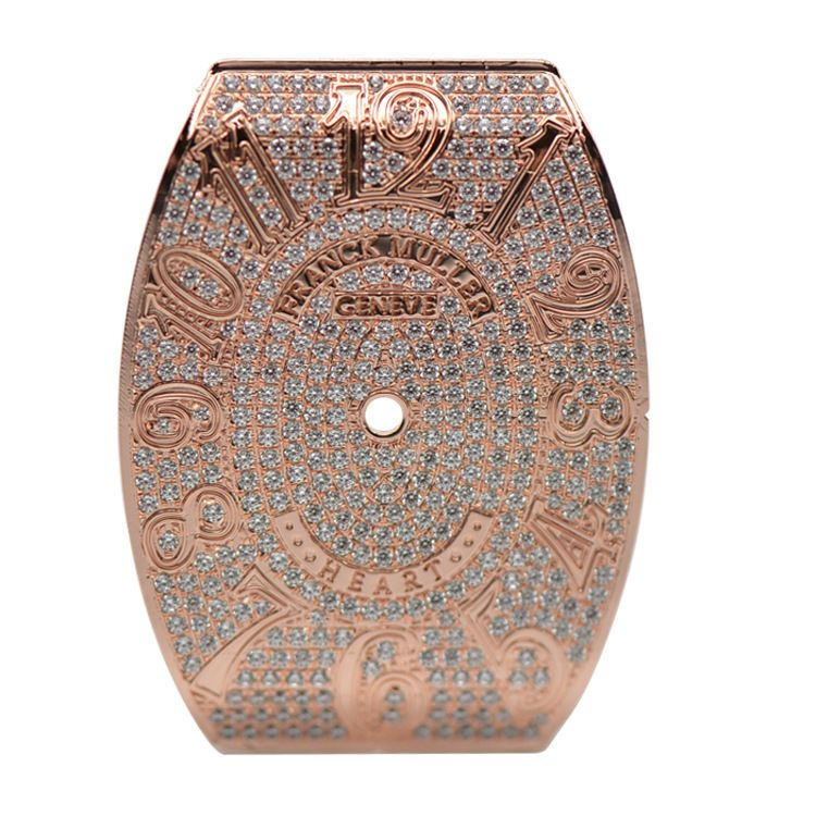 字面配件 高档手表面定制表盘面镶钻镶嵌锆石椭圆形铜表面
