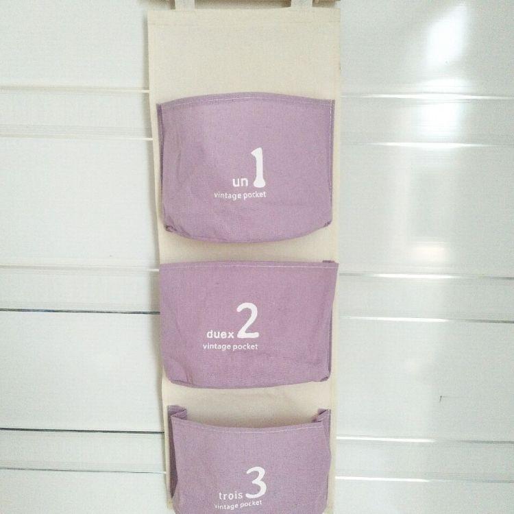 日式棉麻收纳挂袋整理挂袋简约数字三兜挂袋 新款三兜墙面挂袋