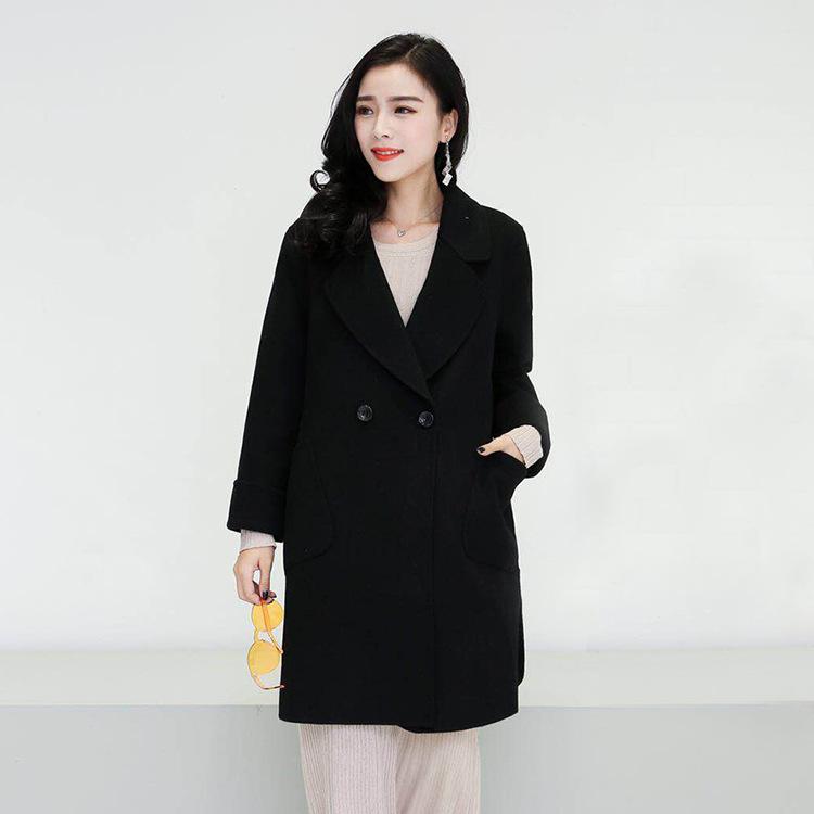 批发2018冬季新款胖衣朵品牌大码女装大衣双面羊绒大码毛呢外套