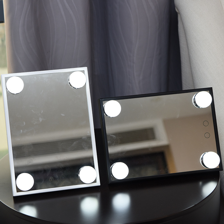 带灯泡小镜子方形化妆镜 台式美容镜便携镜子礼品镜双色可调光