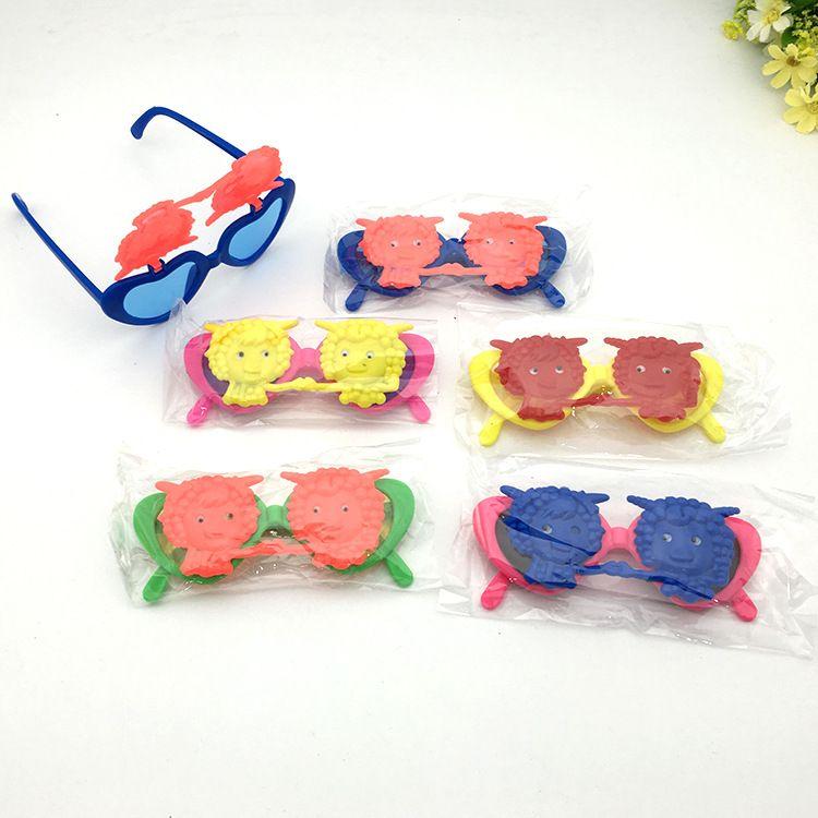 防紫外线儿童太阳镜男卡通动物彩色女翻盖墨镜跑江湖摆地摊新产品