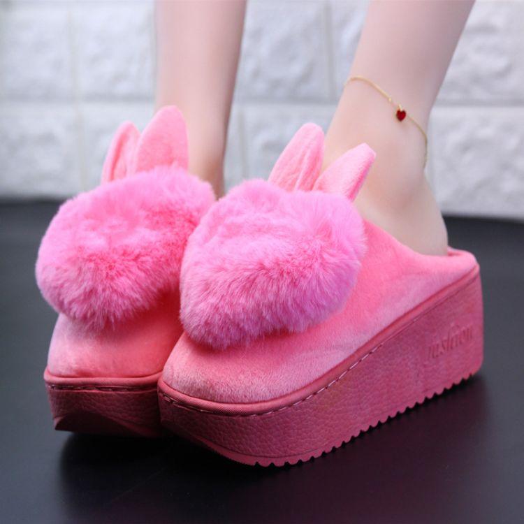 棉拖鞋女保暖厚底月子冬季韩版家居家可爱耳朵心毛毛室内坡跟棉鞋