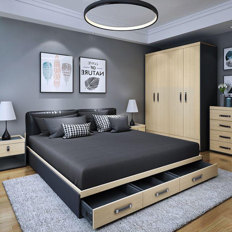 定制北欧床简约板式双人床1.8米软包床头单人床收纳床高箱储物床