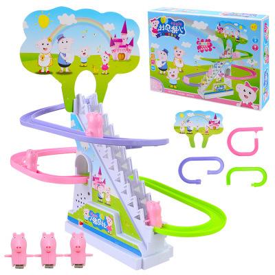 儿童卡通电动轨道车小猪爬楼梯玩具 外贸旋转闪光音乐地摊玩具