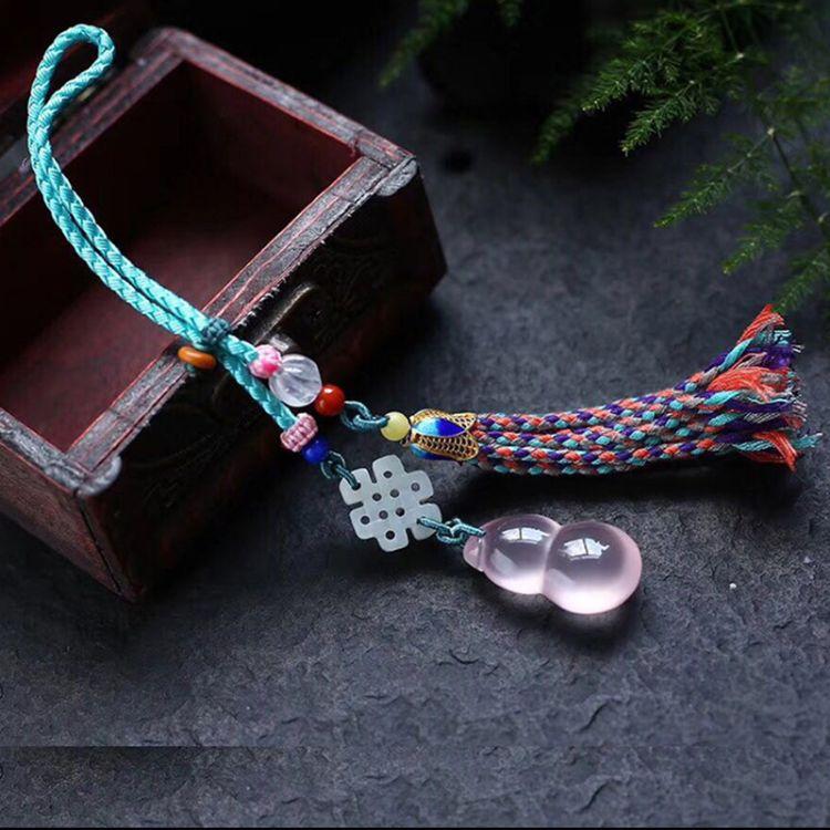 天然莫桑比克星光粉葫芦挂件手工编织包挂钥匙挂件绳一件代发包邮