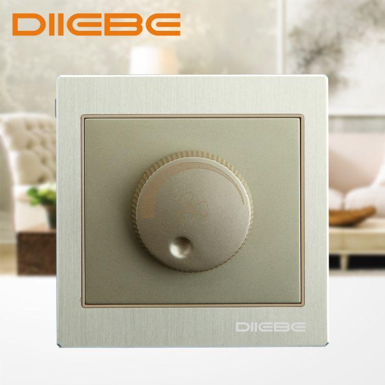 墙壁开关插座土豪金拉丝铝板家用调光开关D1-052