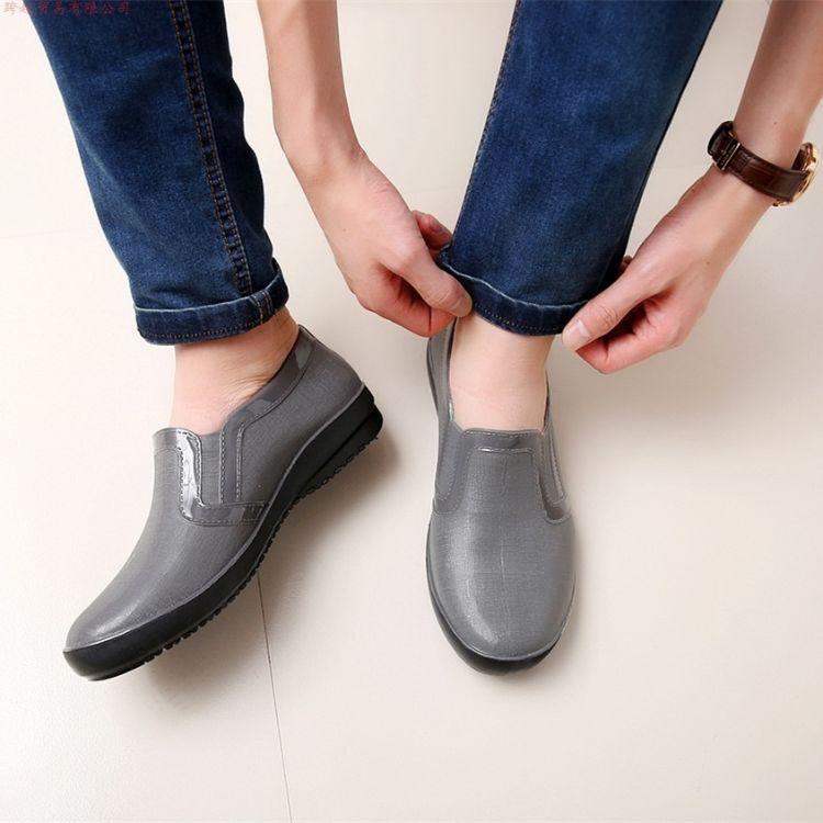 外贸男士休闲雨鞋厚底时尚防水鞋防滑胶鞋春秋平底低筒低帮套鞋子