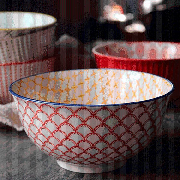 厂价地中海浮雕几何陶瓷印花碗 拉面水果沙拉粥碗 印花餐具混批