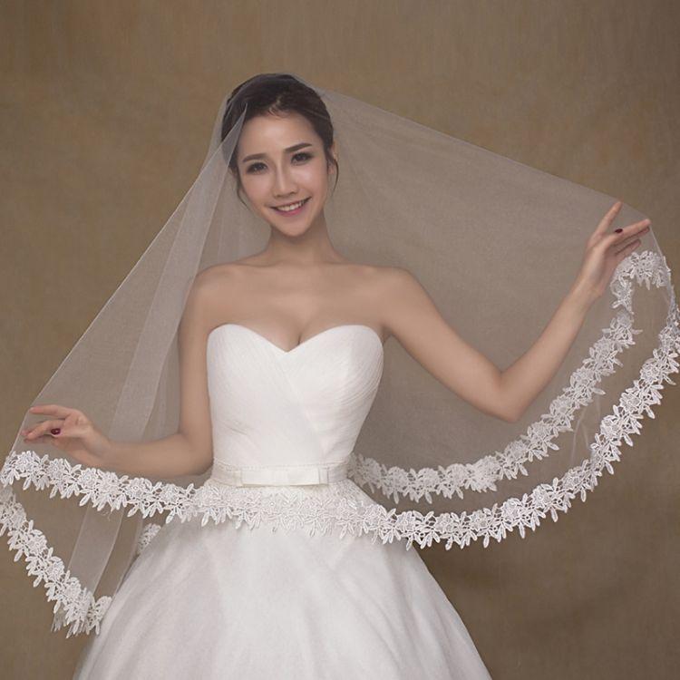 厂家直销新款结婚蕾丝头纱 现货批发高品质新娘单层礼服头纱
