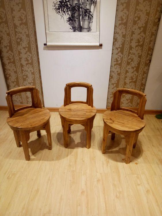 老榆木新型靠背椅子中式实木办公椅 原生态休闲椅子 餐椅家具定制