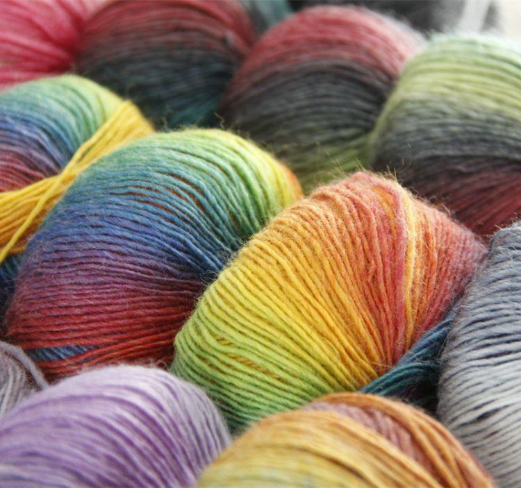 雪暖羊 彩虹羊毛线 长段染 花式乐谱线 围巾帽子外套手编绒线