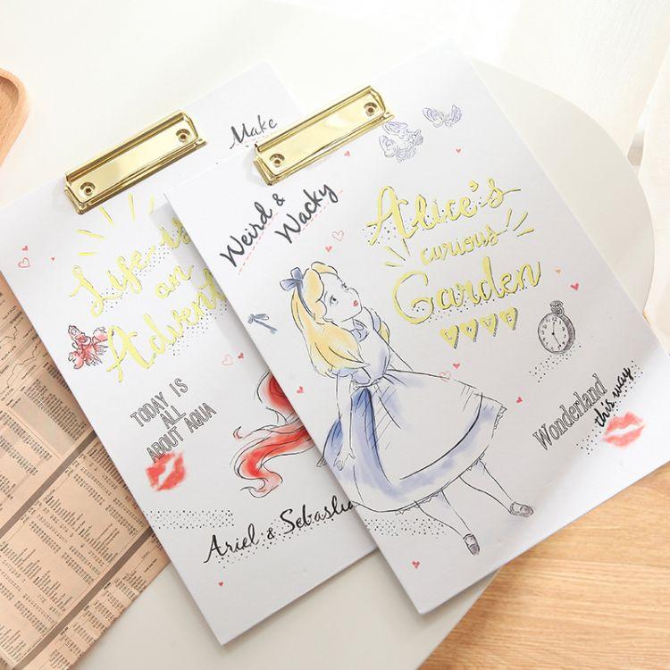 日单 美人鱼爱丽丝公主纸质板夹文件纸张明信片收纳书写工具
