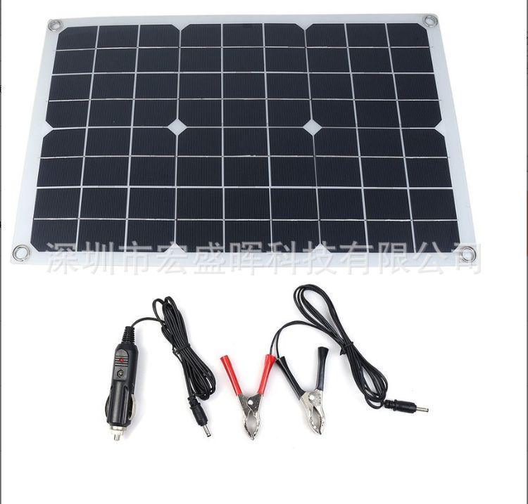 20W单晶柔性太阳能板多功能手机充电板便携式车船应急充电板