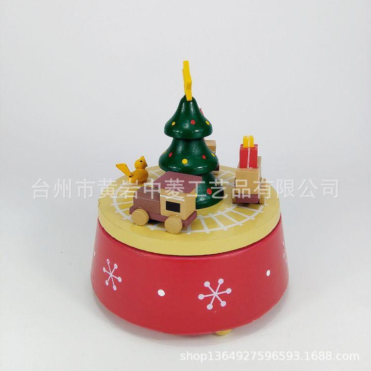 木制圣诞音乐盒摆件礼物圣诞装饰品小孩玩具八音盒