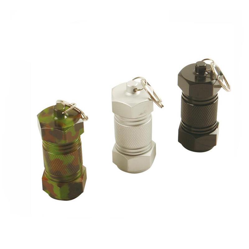 爆款迷你药筒铝合金 急救药丸瓶钥匙扣便携密封药瓶防水 30x70mm