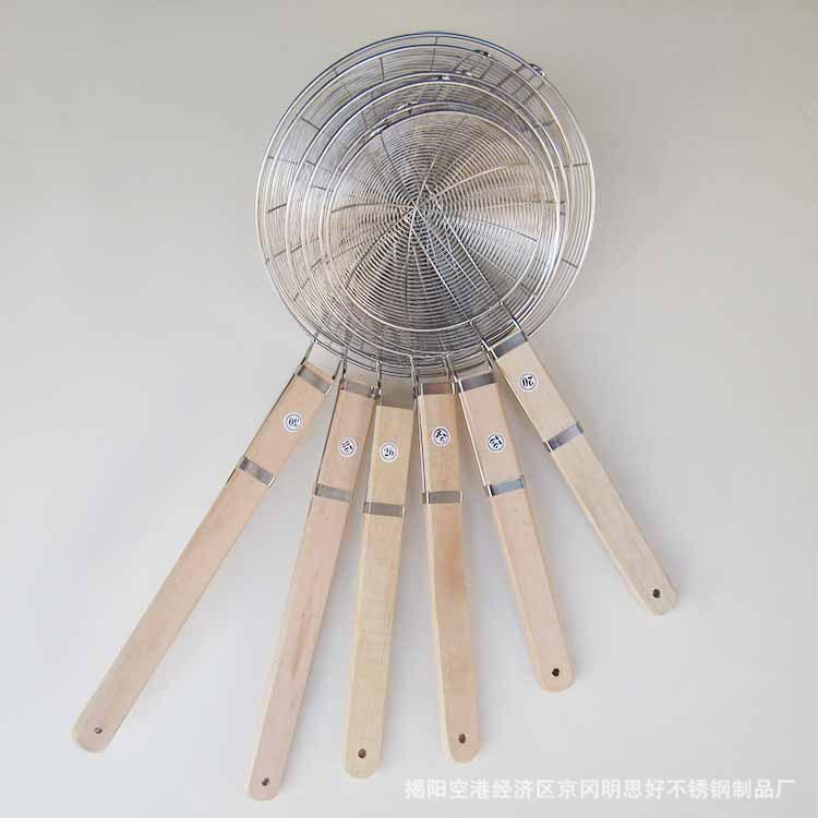 不锈钢木柄大线漏加粗加厚钢线加密过滤漏勺酒店面条漏捞篱油炸捞