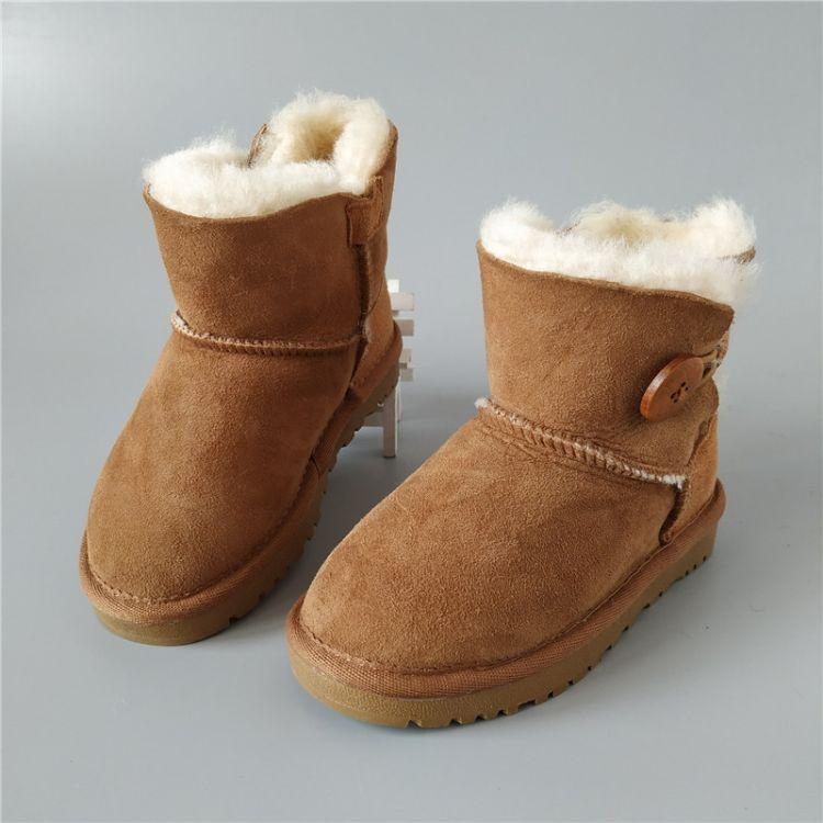 冬季亲子款羊毛一体雪地靴保暖女皮毛一体靴子 大儿童中筒羊毛鞋