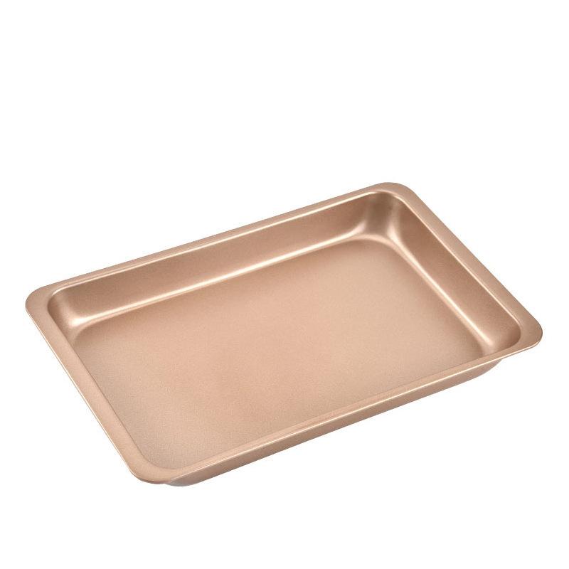 金色12寸不粘长方形烤盘 碳钢烤箱烘焙烤盘蛋糕模具烘培工具