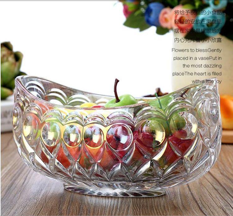 腰形果斗 船形风车水果斗鱼鳞形状 茶几摆件 玻璃礼品