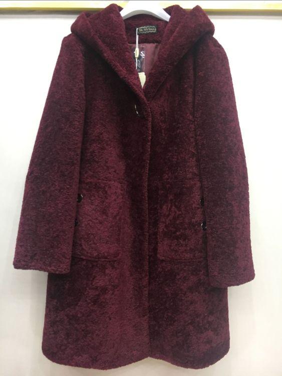 厂家直销2018冬装新品宽松外套中老年妈妈装羊剪绒带帽仿皮草大衣