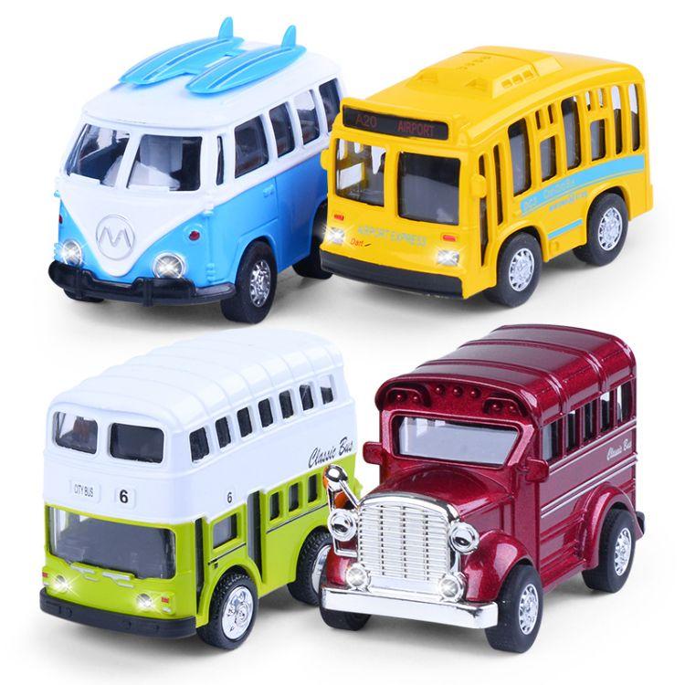 合金车模声光汽车巴士模型批发价格 儿童迷你小汽车玩具批发零售