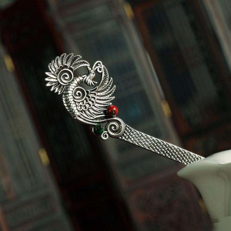 原创DIY民族风饰品女苗银古风发簪古典步摇盘发批发发饰一件代发