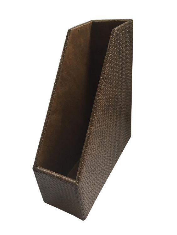 纺织纹皮革桌面收纳架杂志整理文件收纳夹资料文件储物盒定制