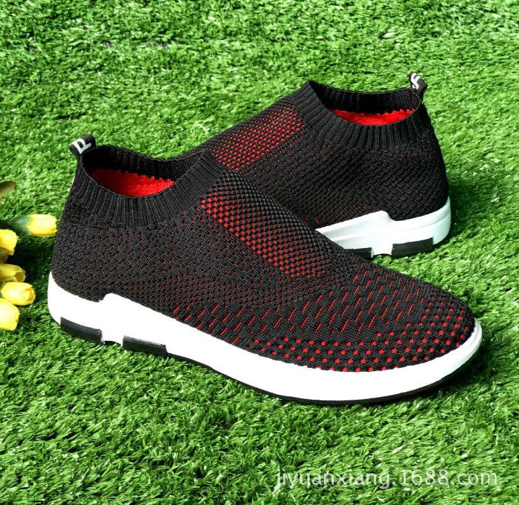 新款男士弹力袜子鞋高帮运动鞋真飞织透气休闲鞋韩版潮袜跑步网鞋
